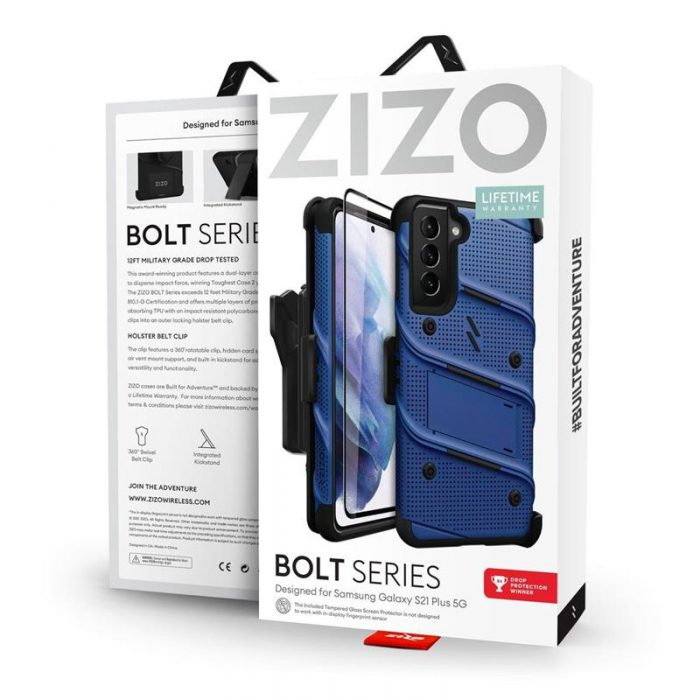 s21 plus - zizo bolt cover - samsung galaxy s21+ plus 5g armored case with 9h glass for the screen + stand & belt clip (blue / black) - 9 - krytaren.sk