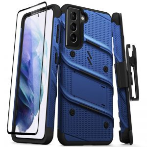S21 - Zizo Bolt Cover - Samsung Galaxy S21 5G armored case with 9H glass for the screen + stand & belt clip (blue / black) - 1 - krytaren.sk