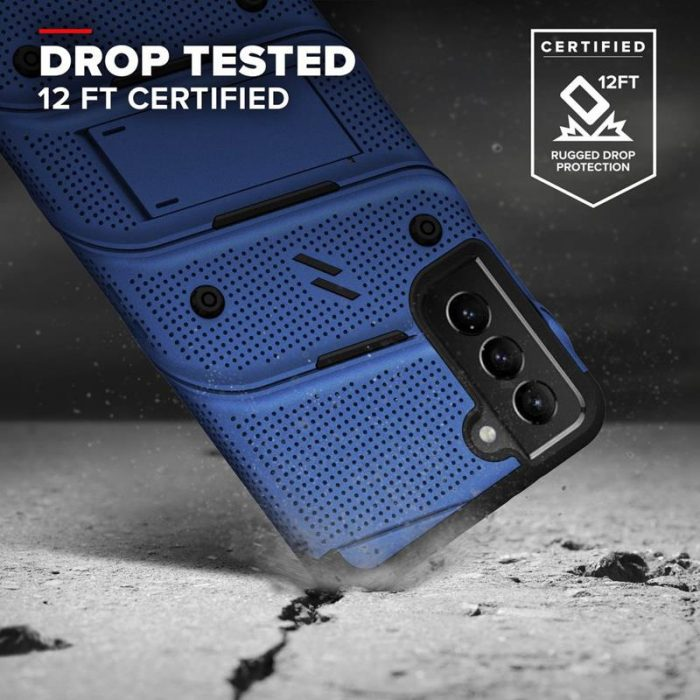 s21 - zizo bolt cover - samsung galaxy s21 5g armored case with 9h glass for the screen + stand & belt clip (blue / black) - 2 - krytaren.sk
