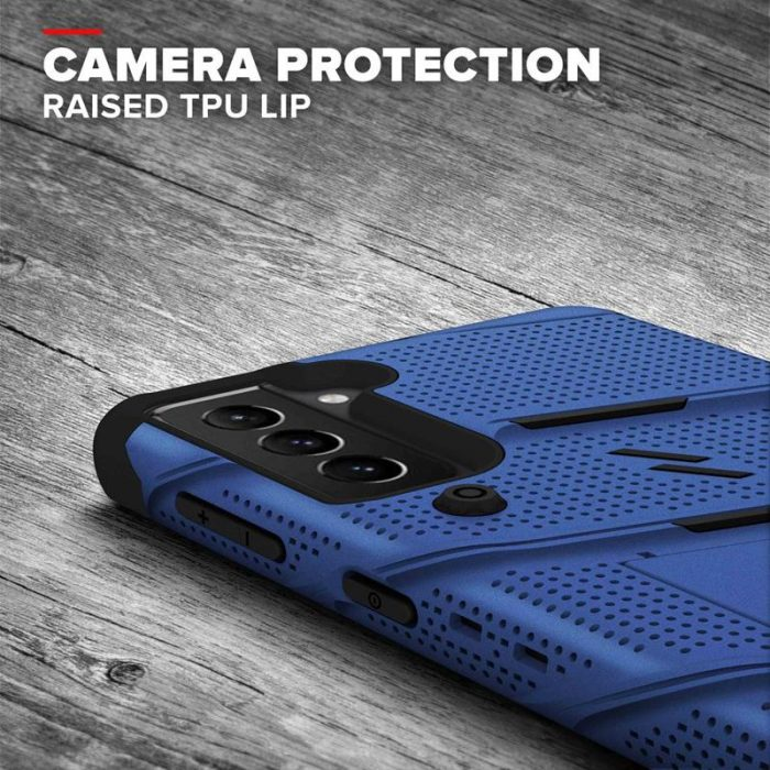 s21 - zizo bolt cover - samsung galaxy s21 5g armored case with 9h glass for the screen + stand & belt clip (blue / black) - 7 - krytaren.sk