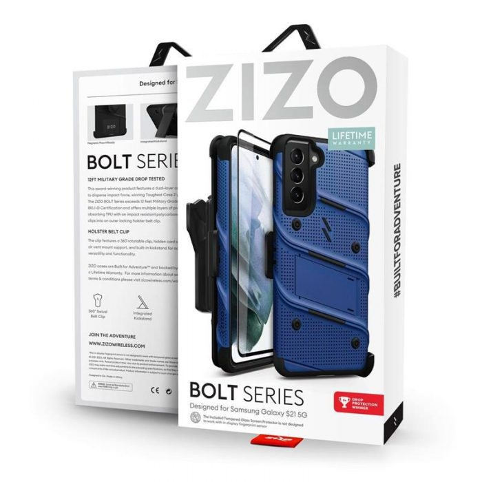 s21 - zizo bolt cover - samsung galaxy s21 5g armored case with 9h glass for the screen + stand & belt clip (blue / black) - 9 - krytaren.sk