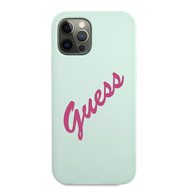 iphone 12 pro max - guess guhcp12llsvsbf apple iphone 12 pro max blue fuschia hardcase silicone vintage - 3 - krytaren.sk