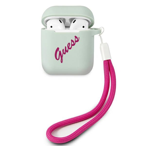 airpods - guess guaca2lsvsbf apple airpods cover blue fuschia silicone vintage - 1 - krytaren.sk