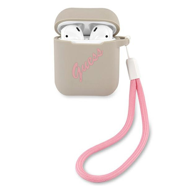 airpods - guess guaca2lsvsgp apple airpods cover grey pink silicone vintage - 1 - krytaren.sk