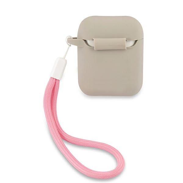 airpods - guess guaca2lsvsgp apple airpods cover grey pink silicone vintage - 2 - krytaren.sk