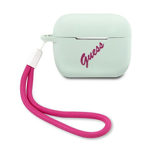 airpods - guess guacaplsvsbf apple airpods pro cover blue fuschia silicone vintage - 1 - krytaren.sk