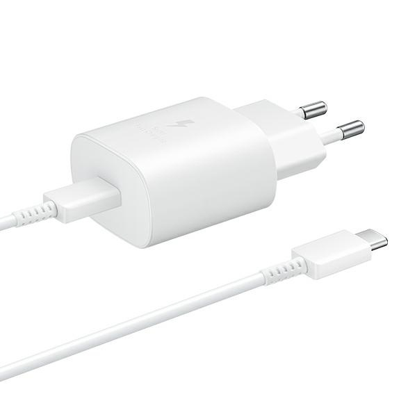 wall chargers - samsung wall charger ep-ta800xw pd 25w c + usb-c cable 1m white - 1 - krytaren.sk