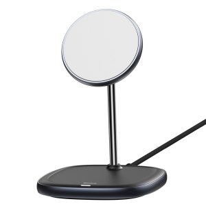 Wireless chargers - Baseus Swan MagSafe Magnetic Stand with Wireless Charger for iPhone 12 (Black) - 2 - krytaren.sk
