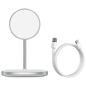 Wireless chargers - Baseus Swan MagSafe Magnetic Stand with Wireless Charger for iPhone 12 (white) - 2 - krytaren.sk