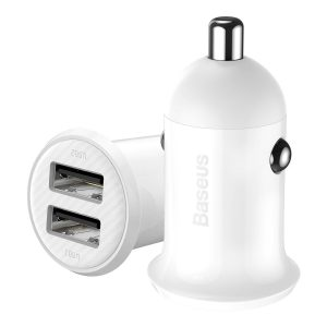 Car Chargers - Baseus Grain Pro Car Charger 2x USB 4.8A (white) - 1 - krytaren.sk