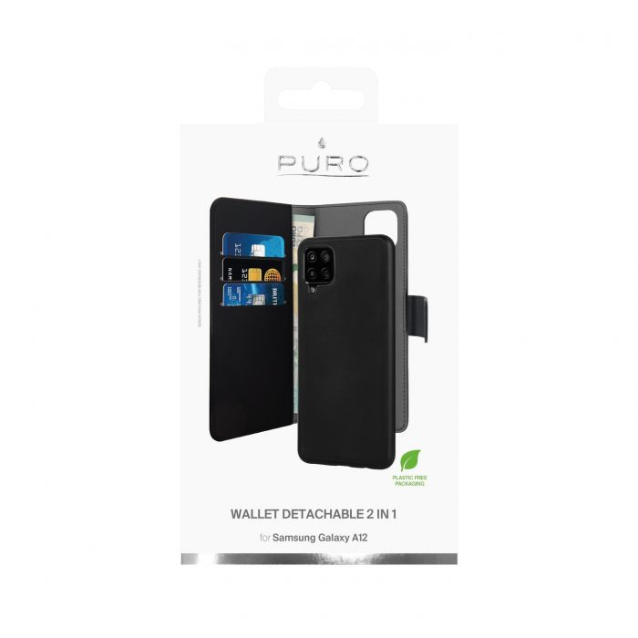 more a series - puro wallet detachable 2in1 samsung galaxy a12 (black) - 3 - krytaren.sk
