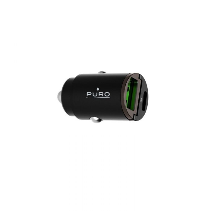 car chargers - puro mini car fast charger usb-a + usb-c power delivery 30w (black) - 3 - krytaren.sk