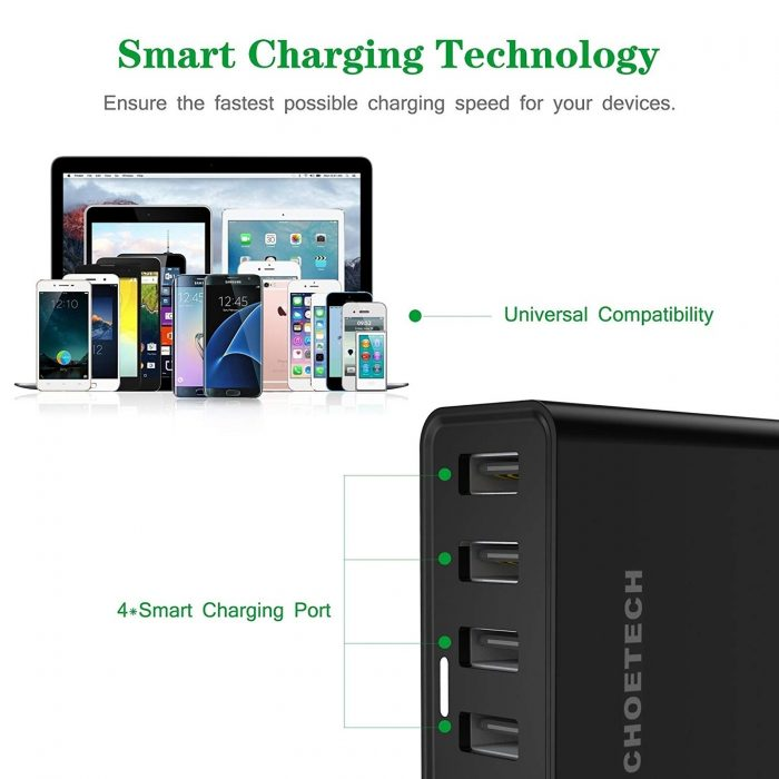 cables - choetech charger stand qc3 6-port usb 50w black - 3 - krytaren.sk