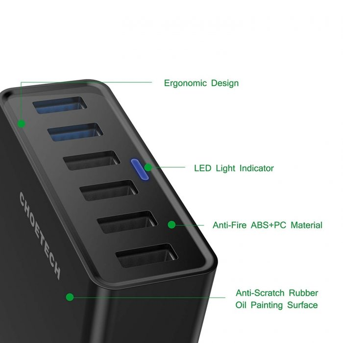 cables - choetech charger stand qc3 6-port usb 50w black - 4 - krytaren.sk