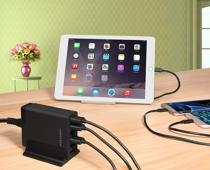 cables - choetech charger stand qc3 6-port usb 50w black - 7 - krytaren.sk