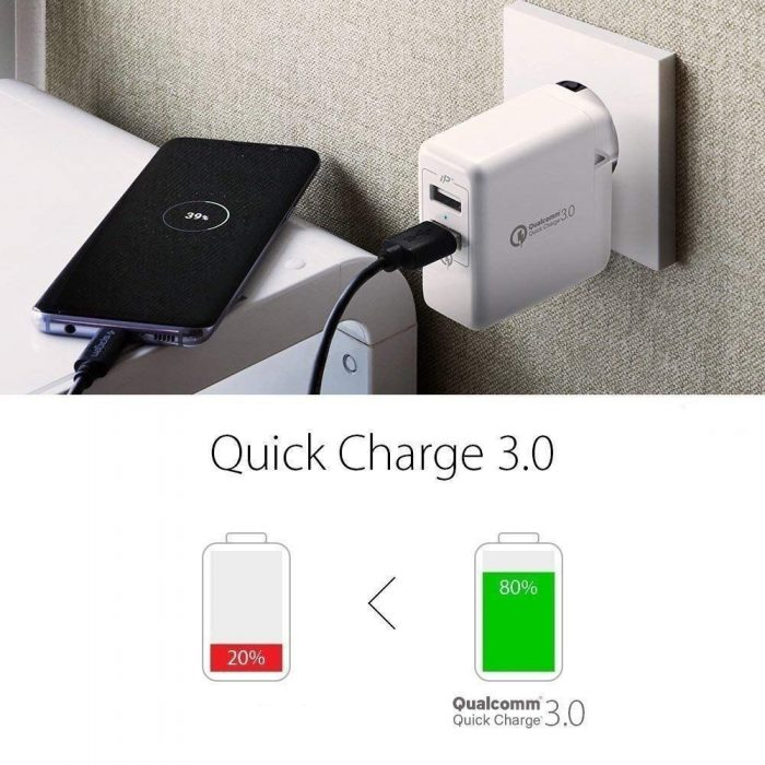 cables - spigen wall charger f207 quick charge 3.0 white - 6 - krytaren.sk