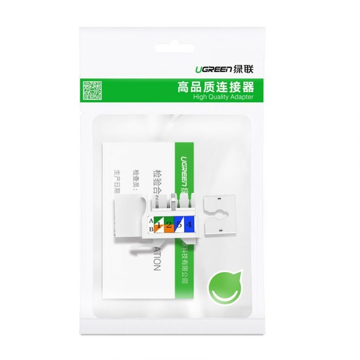 ugreen unshielded network modules ethernet cat 6 8p8c rj45 1000 mbps 568a/b white (80178 nw143) - export 1155