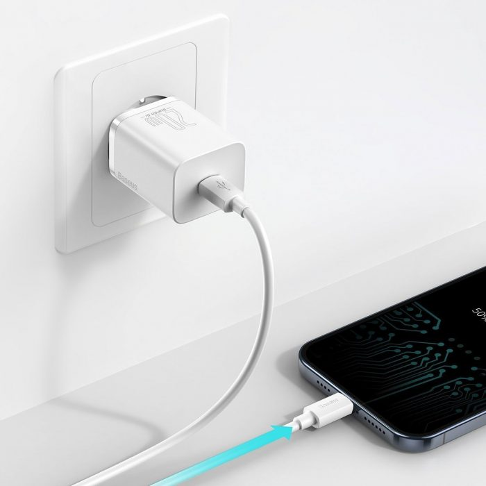 wall chargers - baseus super si quick charger 1c 20w (white) - 7 - krytaren.sk