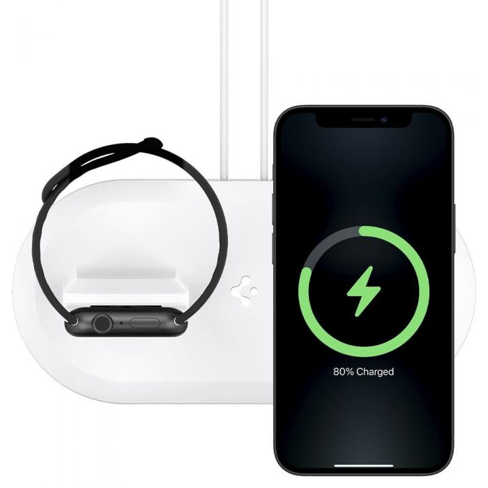 wireless chargers - spigen magfit duo apple magsafe & apple watch charger stand white - 3 - krytaren.sk