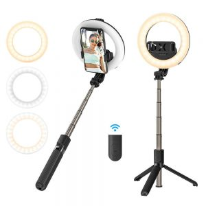 Mounts - Selfie stick / tripod 3in1 BlitzWolf BW-BS8 Pro with LED ring - 1 - krytaren.sk