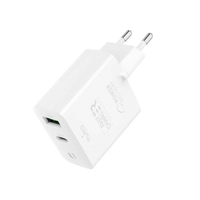 wall chargers - puro mini fast travel charger usb-a + usb-c power delivery 32w (white) - 3 - krytaren.sk