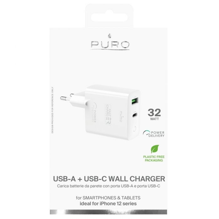 wall chargers - puro mini fast travel charger usb-a + usb-c power delivery 32w (white) - 4 - krytaren.sk