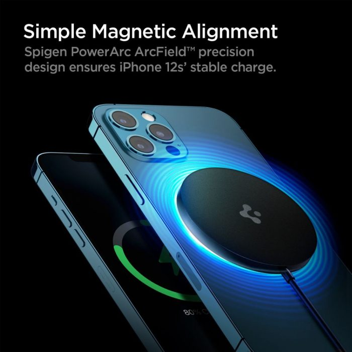 wireless chargers - spigen powerarc pf009 magnetic magsafe wireless charger 7.5w black - 2 - krytaren.sk