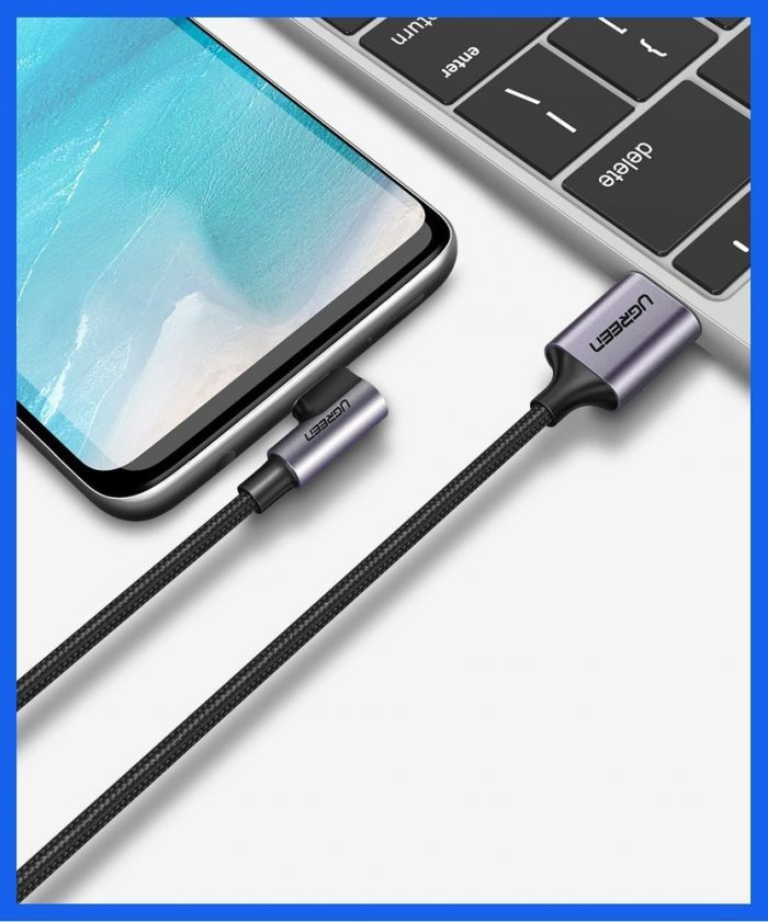 usb-c - usb-a - ugreen usb - usb type c angled cable 2m 3a gray (50942) - 5 - krytaren.sk