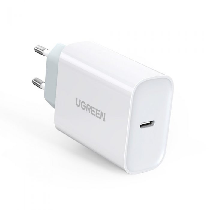 wall chargers - ugreen fast wall charger travel adapter usb typ c power delivery 30 w quick charge 4.0 white (70161) - 1 - krytaren.sk