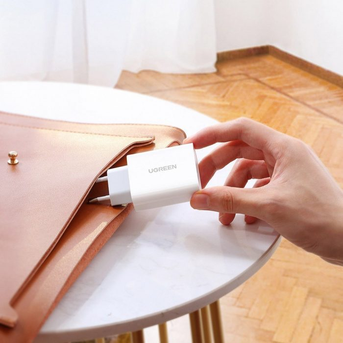 wall chargers - ugreen fast wall charger travel adapter usb typ c power delivery 30 w quick charge 4.0 white (70161) - 7 - krytaren.sk
