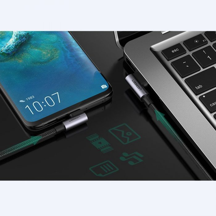 usb-c - usb-a - ugreen usb - usb typ c angled cable quick charge 3.0 qc3.0 3 a 2 m gray (us176 20857) - 4 - krytaren.sk