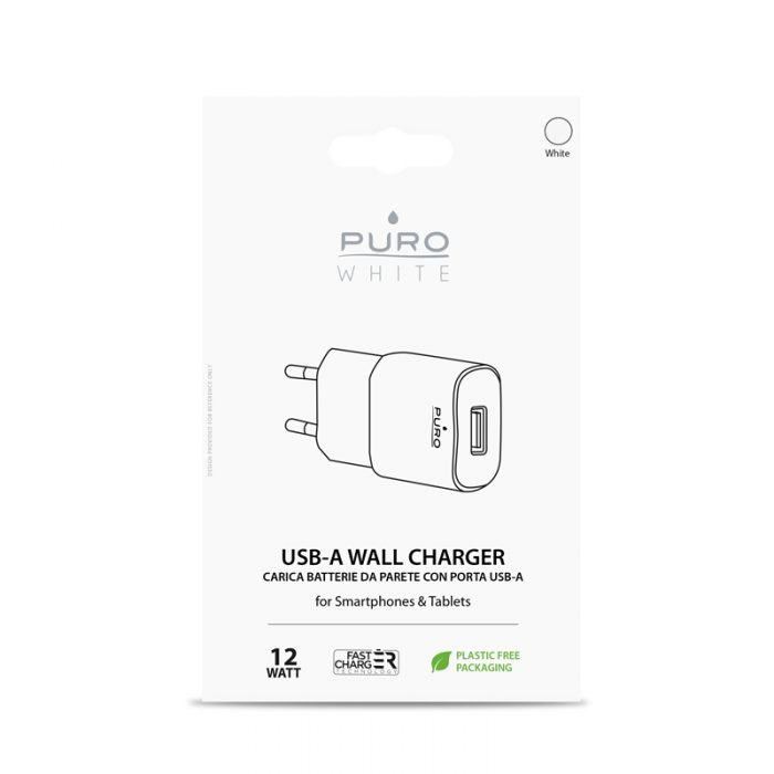 wall chargers - puro white mini travel fast charger usb-a 12 w (white) - 2 - krytaren.sk