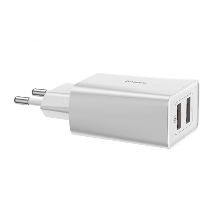 wall chargers - baseus speed mini wall charger 2xusb qc 3.0 18w (white) - 4 - krytaren.sk