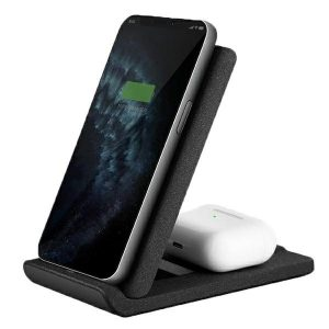 Wireless chargers - UNIQ Wireless Charger Vertex Duo 2in1 15W Fast charge charcoal grey - 1 - krytaren.sk