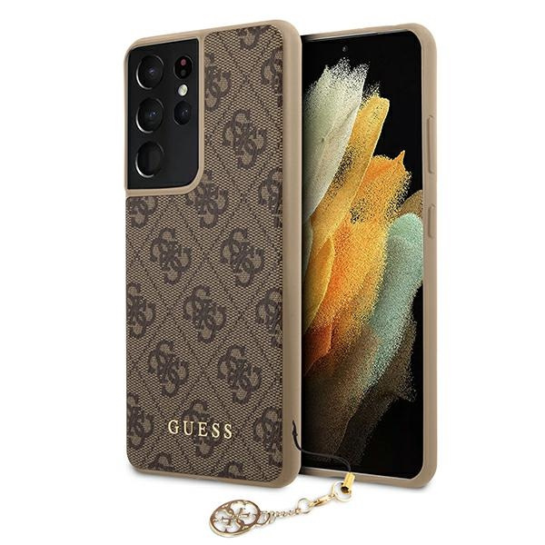 s21 ultra - guess guhcs21lgf4gbr samsung galaxy s21 ultra brown hardcase 4g charms collection - 1 - krytaren.sk