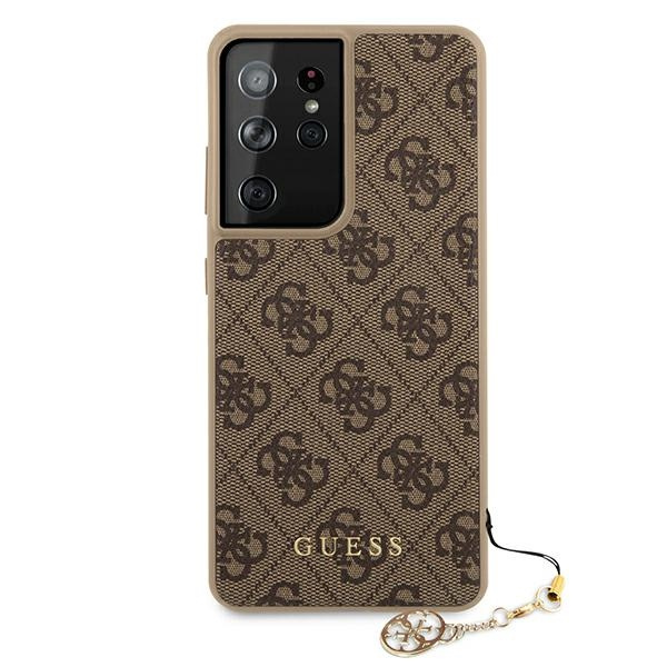 s21 ultra - guess guhcs21lgf4gbr samsung galaxy s21 ultra brown hardcase 4g charms collection - 3 - krytaren.sk