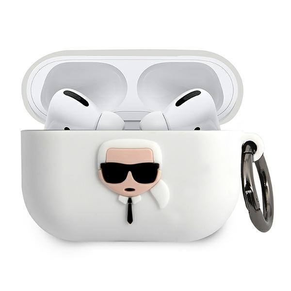 airpods - karl lagerfeld klacapsilglwh apple airpods pro cover white silicone ikonik - 1 - krytaren.sk