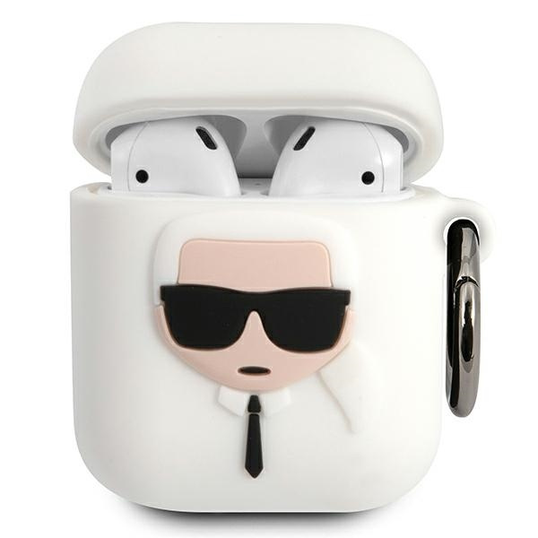 airpods - karl lagerfeld klaccsilkhwh apple airpods cover white silicone ikonik - 1 - krytaren.sk