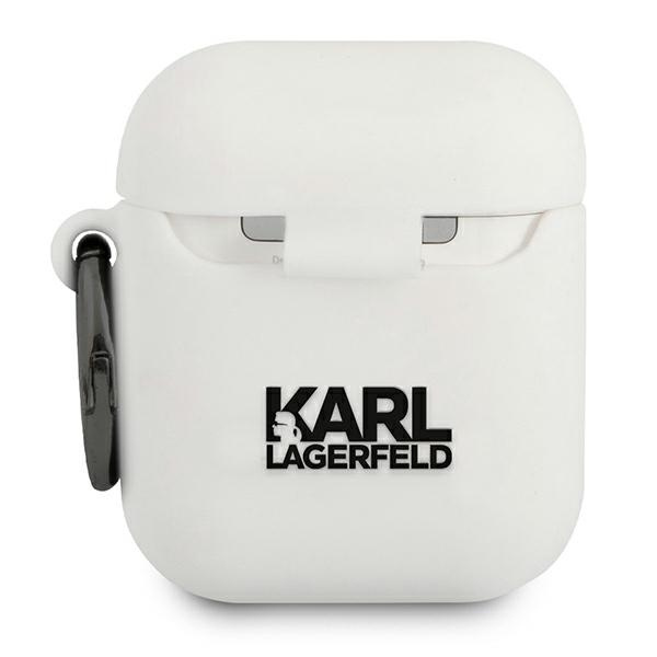 airpods - karl lagerfeld klaccsilkhwh apple airpods cover white silicone ikonik - 2 - krytaren.sk