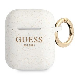 AirPods - Guess GUA2SGGEH Apple AirPods cover white Silicone Glitter - 1 - krytaren.sk