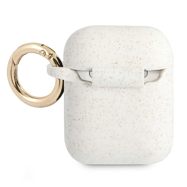 airpods - guess gua2sggeh apple airpods cover white silicone glitter - 2 - krytaren.sk