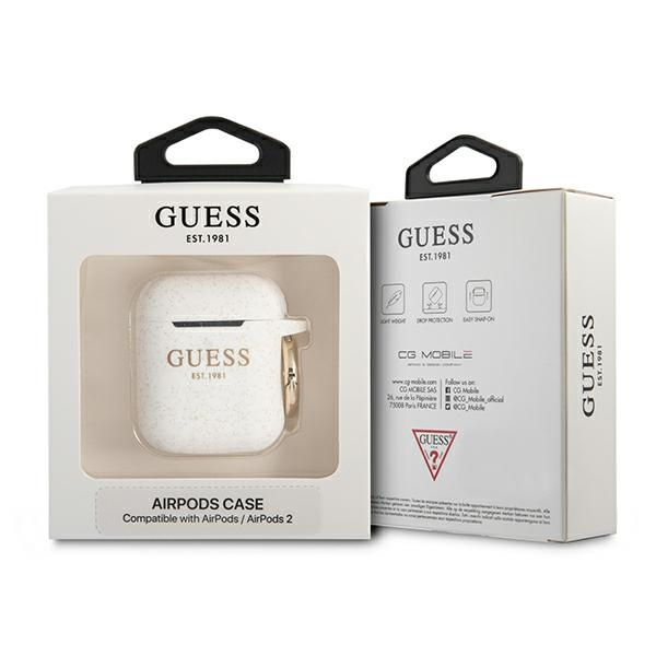 airpods - guess gua2sggeh apple airpods cover white silicone glitter - 3 - krytaren.sk