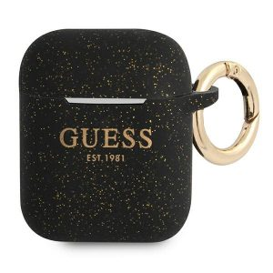 AirPods - Guess GUA2SGGEK Apple AirPods cover black Silicone Glitter - 1 - krytaren.sk