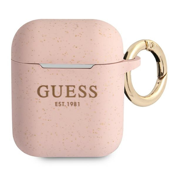 airpods - guess gua2sggep apple airpods cover pink silicone glitter - 1 - krytaren.sk