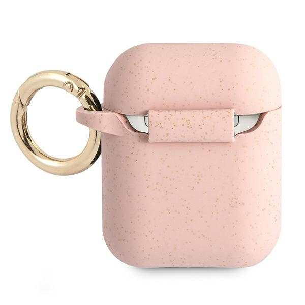 airpods - guess gua2sggep apple airpods cover pink silicone glitter - 2 - krytaren.sk