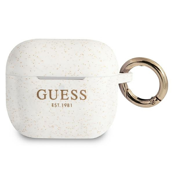 airpods - guess gua3sggeh apple airpods 3 cover white silicone glitter - 1 - krytaren.sk
