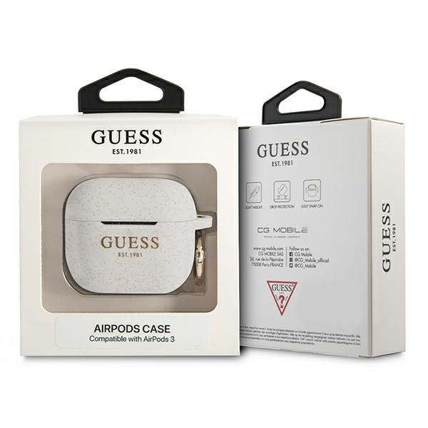 airpods - guess gua3sggeh apple airpods 3 cover white silicone glitter - 3 - krytaren.sk