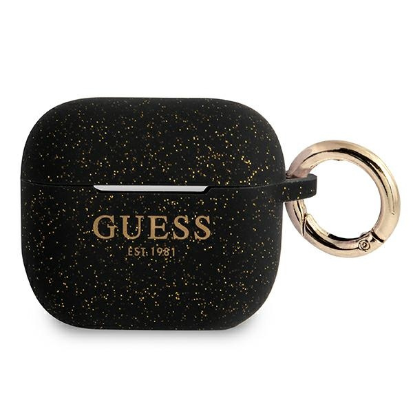 airpods - guess gua3sggek apple airpods 3 cover black silicone glitter - 1 - krytaren.sk