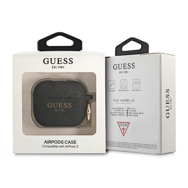 airpods - guess gua3sggek apple airpods 3 cover black silicone glitter - 3 - krytaren.sk