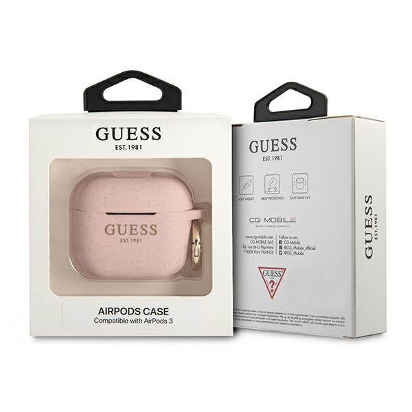 airpods - guess gua3sggep apple airpods 3 cover pink silicone glitter - 3 - krytaren.sk